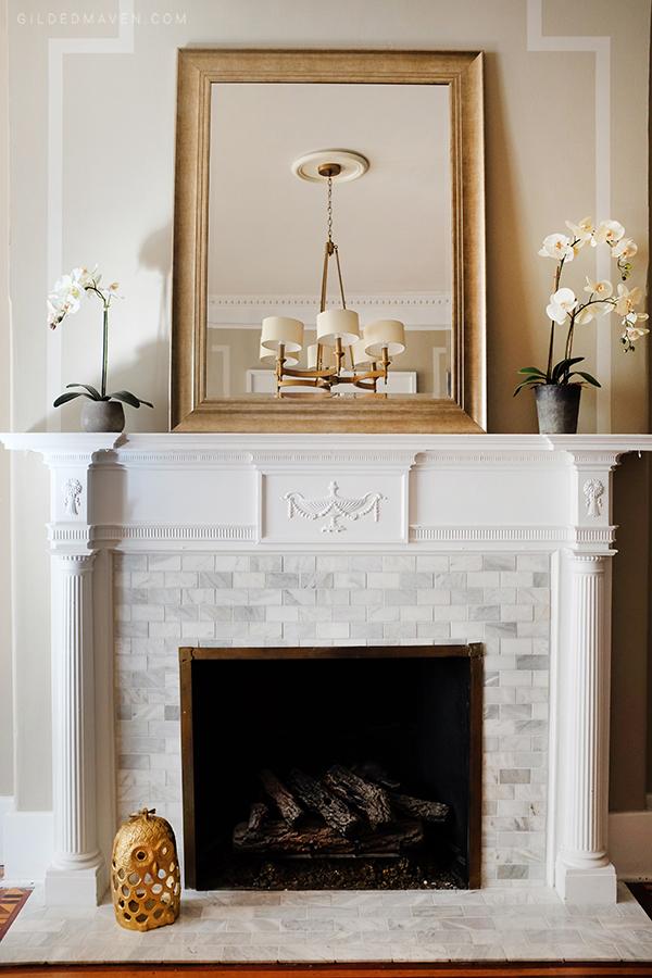 MARBLE Fireplace Facelift!! gildedmaven.com