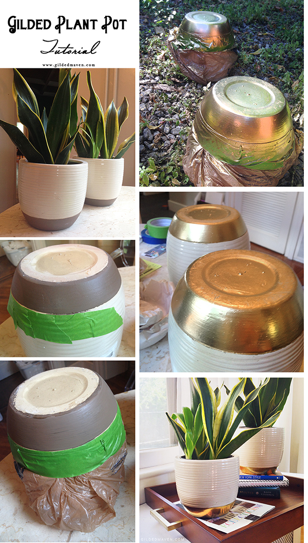 What a GREAT idea! Gilded Plant Pot Tutorial - gildedmaven.com