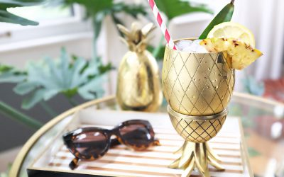 GOLD PINEAPPLE TIKI TUMBLERS