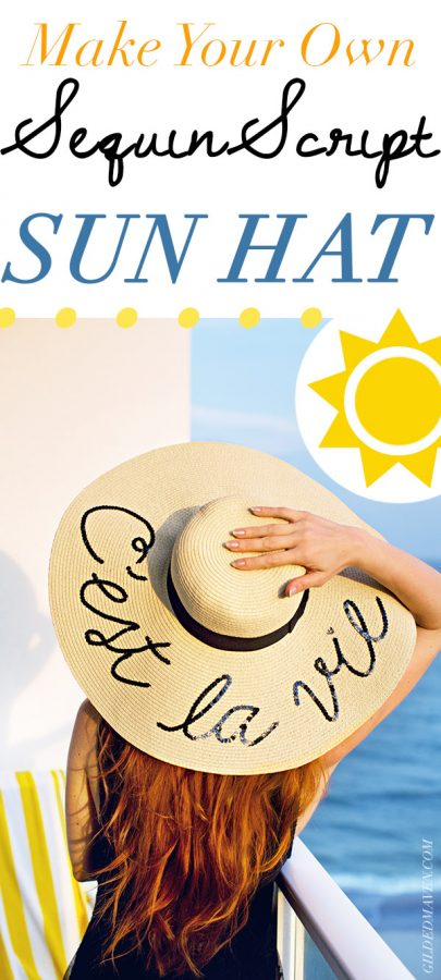 Pinning NOW, making this weekend!! SUPER CUTE! I've seen the expensive Eugenia Kim 'Do Not Disturb' sequin straw sun hats everywhere - and now I can make MY OWN?! What a great idea for a girls night or vacay! Can't wait... #DIY Make your own Sequin Script Straw Floppy Sun Hat this summer!