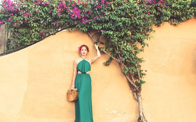 EMERALD GREEN HALTER DRESS